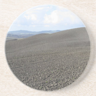 Paisaje de Toscana del invierno con los campos Posavasos Para Bebidas