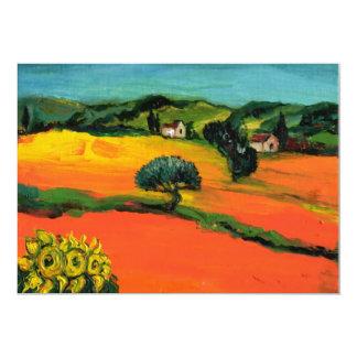 PAISAJE de TOSCANA, verde azul amarillo-naranja Invitacion Personal