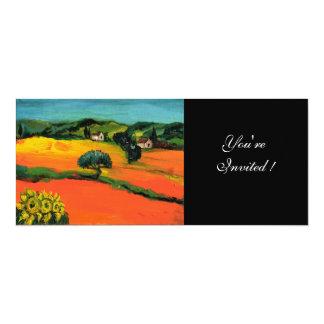 "PAISAJE de TOSCANA, verde azul amarillo-naranja Invitación 4"" X 9.25"""