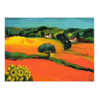 "PAISAJE de TOSCANA, verde azul amarillo-naranja Invitación 5"" X 7"""