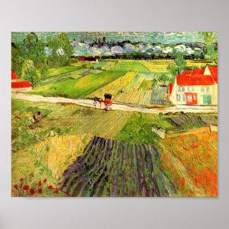 Paisaje de Van Gogh carro y tren F760 Impresiones