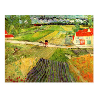 Paisaje de Van Gogh carro y tren F760 Tarjetas Postales