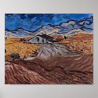 Paisaje de Van Gogh cerca del Santo-Rémy Posters
