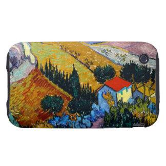 Paisaje de Van Gogh con la casa y el labrador Tough iPhone 3 Coberturas
