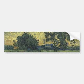 Paisaje de Van Gogh en el crepúsculo 1890 Pegatina De Parachoque