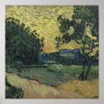 Paisaje de Van Gogh en el crepúsculo 1890 Posters