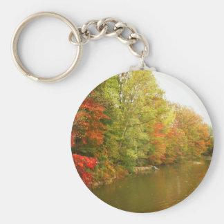 Paisaje del agua del otoño, Central Park Llavero Redondo Tipo Pin