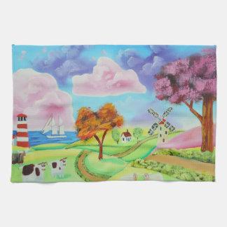 Paisaje del arte popular con una pintura del toalla