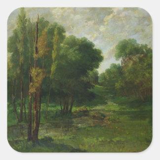 Paisaje del bosque, 1864 pegatina cuadradas