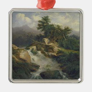 Paisaje del bosque con la cascada adorno navideño cuadrado de metal