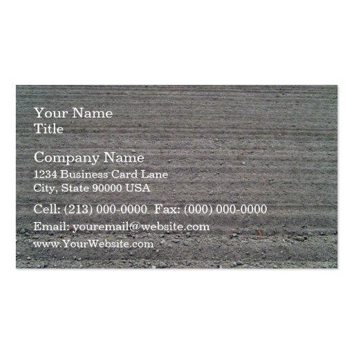 Paisaje del campo arado con el modelo de las filas tarjetas de visita