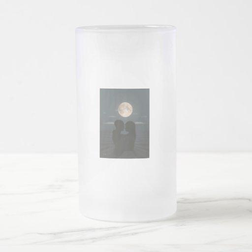 Paisaje del claro de luna taza cristal mate