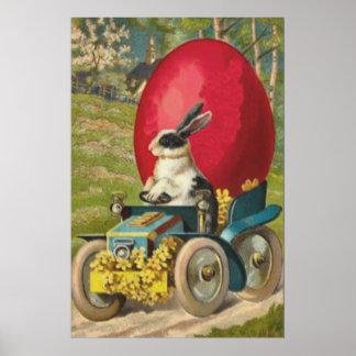 Paisaje del coche del huevo del conejito de pascua póster