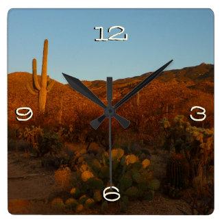 Paisaje del desierto de la puesta del sol I Reloj Cuadrado