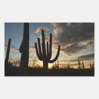 Paisaje del desierto de la puesta del sol II Pegatina Rectangular