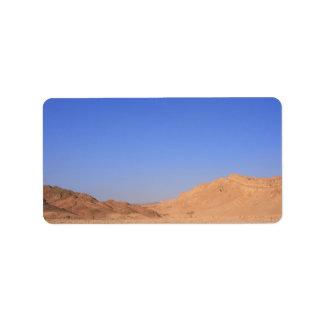 Paisaje del desierto etiquetas de dirección