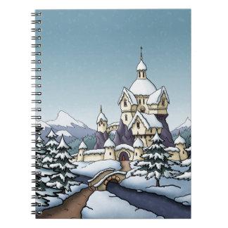 paisaje del día de fiesta del navidad del castillo cuadernos