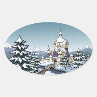 paisaje del día de fiesta del navidad del castillo pegatina ovalada