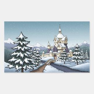 paisaje del día de fiesta del navidad del castillo pegatina rectangular