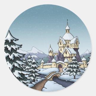 paisaje del día de fiesta del navidad del castillo pegatina redonda