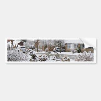 Paisaje del invierno etiqueta de parachoque