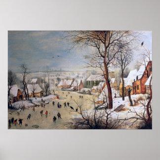 Paisaje del invierno con Birdtrap, 1601 Póster