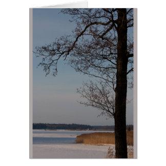 Paisaje del invierno con la tarjeta de felicitació