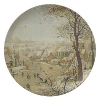 Paisaje del invierno con la trampa del pájaro (ace platos