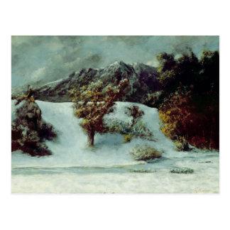 Paisaje del invierno con las abolladuras Du Midi Postales