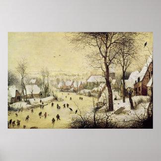 Paisaje del invierno con los patinadores póster