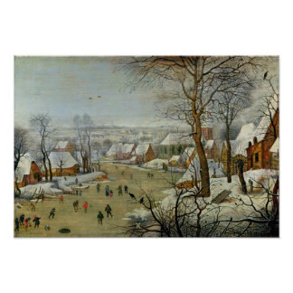 Paisaje del invierno con patinadores y una trampa  póster