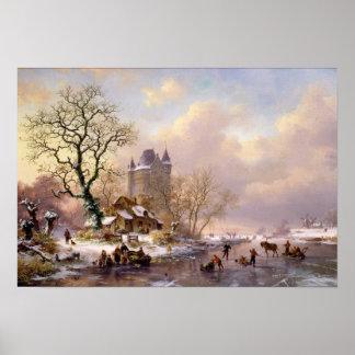 Paisaje del invierno con un castillo póster