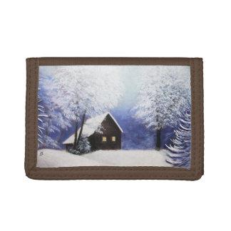 paisaje del invierno de la cabina de la nieve en p