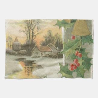 Paisaje del invierno de la mañana de navidad del v toalla