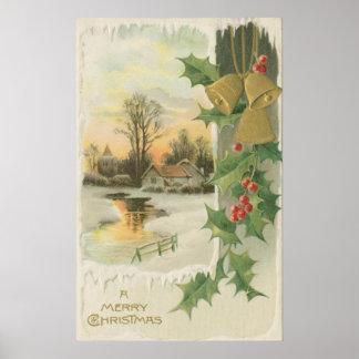 Paisaje del invierno de la mañana de navidad del v póster