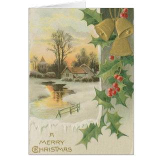 Paisaje del invierno de la mañana de navidad del v tarjeta de felicitación