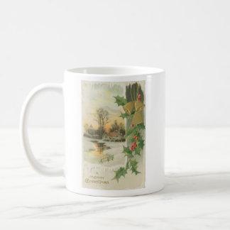 Paisaje del invierno de la mañana de navidad del v taza