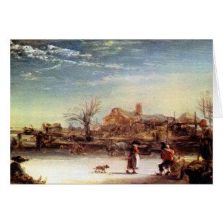 Paisaje del invierno de Rembrandt Harmenszoon van Felicitación
