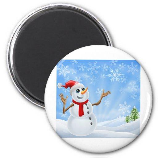 Paisaje del invierno del muñeco de nieve del navid iman