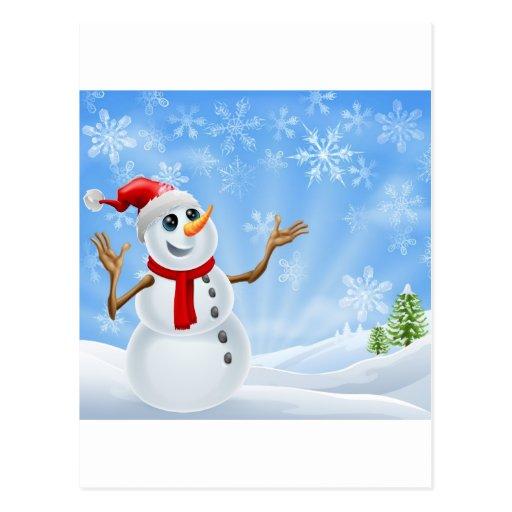 Paisaje del invierno del muñeco de nieve del postales