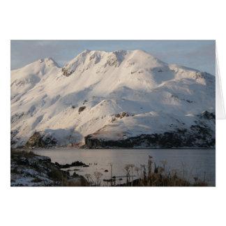 Paisaje del invierno en la isla de Unalaska Tarjeta De Felicitación