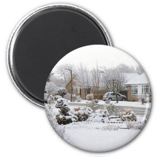 Paisaje del invierno imán redondo 5 cm