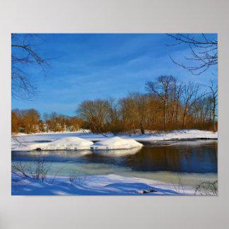 Paisaje del invierno - parque de Webster Póster