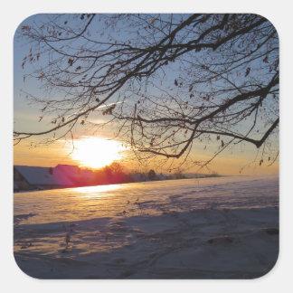 Paisaje del invierno pegatina cuadrada