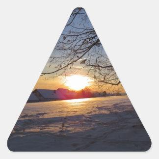 Paisaje del invierno pegatina triangular