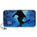 Paisaje del invierno y esquiador del estilo libre notebook altavoces