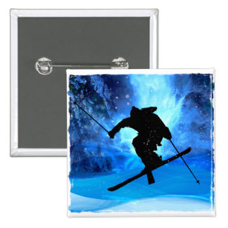 Paisaje del invierno y esquiador del estilo libre pin cuadrado