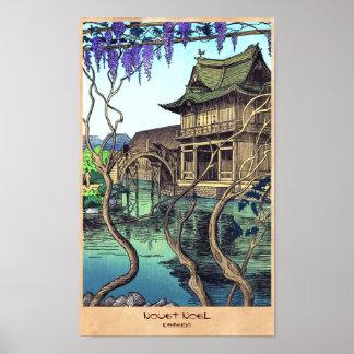 Paisaje del japonés del hanga de la espinilla de N Poster
