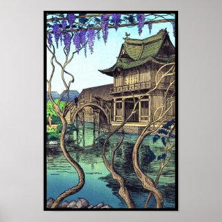 Paisaje del japonés del hanga de la espinilla de N Posters