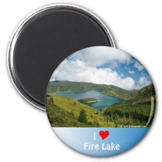 Paisaje del lago azores imán redondo 5 cm